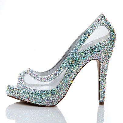 Shining Rhinestone Peep Toe Mesh Stiletto Heel Prom Shoes
