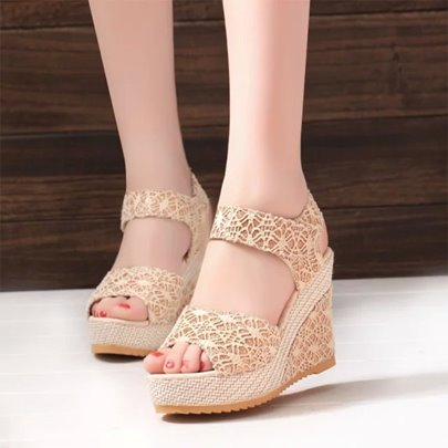 Lace Wedge Heel Platform Velcro Women's Sandals