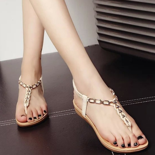 Elastic Band Plain Sequins Thong Women's Sandals