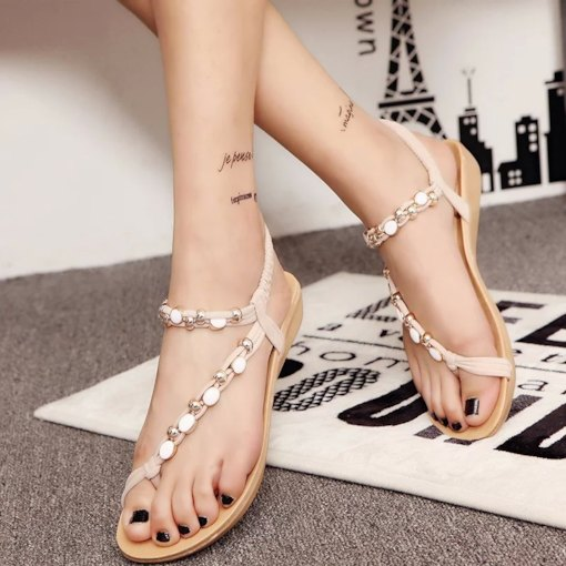Toe Ring Elastic Band Plain Sequins Wedge Low Heel Women's Sandals