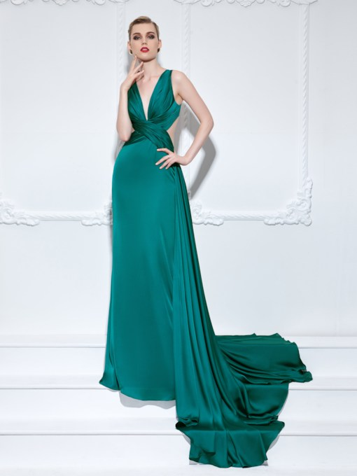A-Line Pleats V-Neck Evening Dress