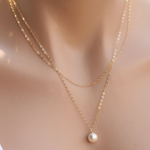 Double Layers Pearl Pendant Chain Necklace