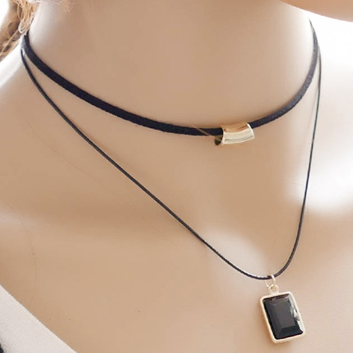 Black Pendant Double Layers Rope Necklace