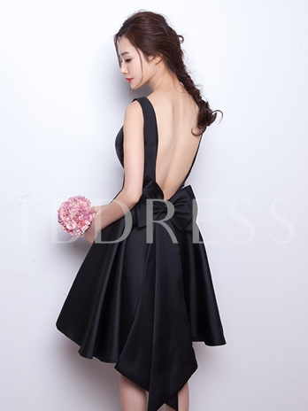 A-Line Scoop Bowknot Backless Short Homecoming Dress