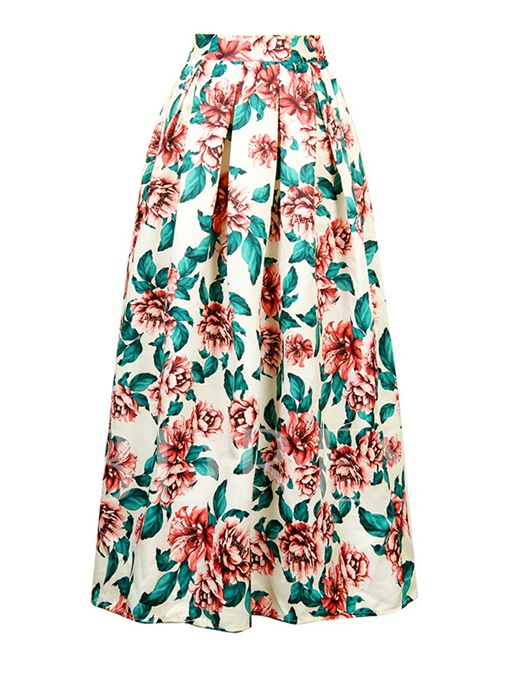 High Waisted Floral Printed Women's Skirt