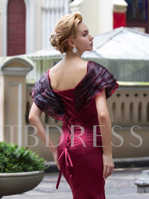 Mermaid V-Neck Cap Sleeves Ruched Tiered Court Train Evening Dress