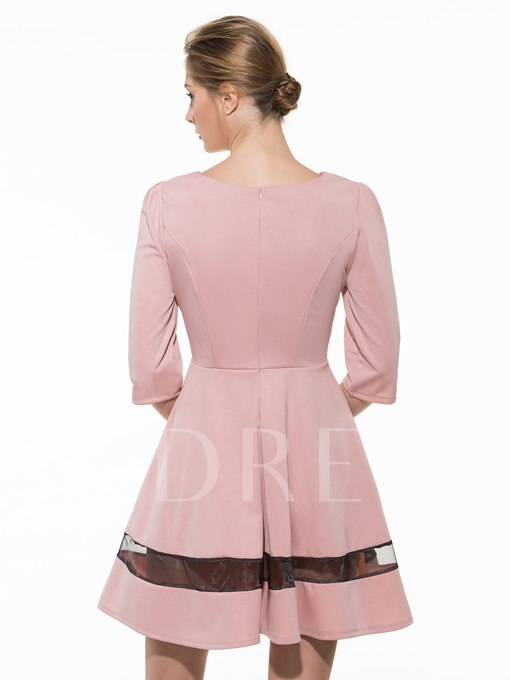 Solid Color Round Neck Half Sleeve Women's Day Dress (Plus Size Available)