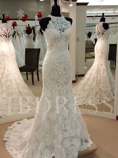 Halter Neck Appliques Lace Wedding Dress