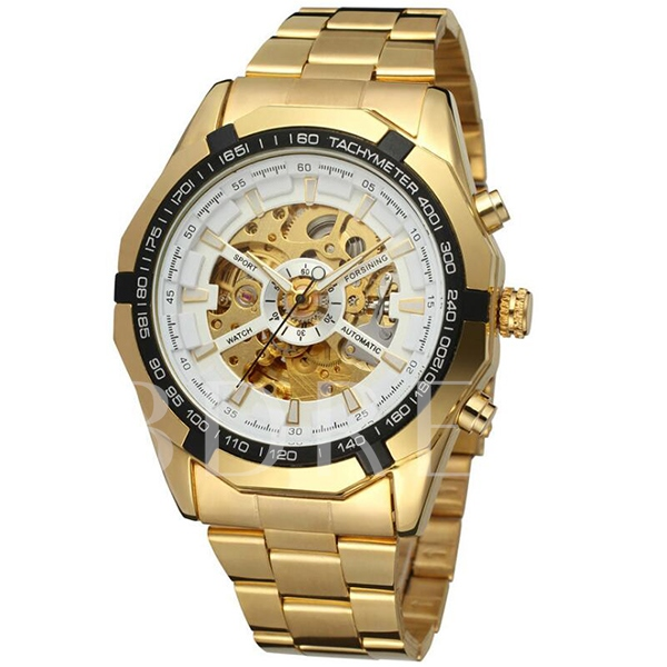 Gold Steel Band Fashion Men's Mechanical Watch