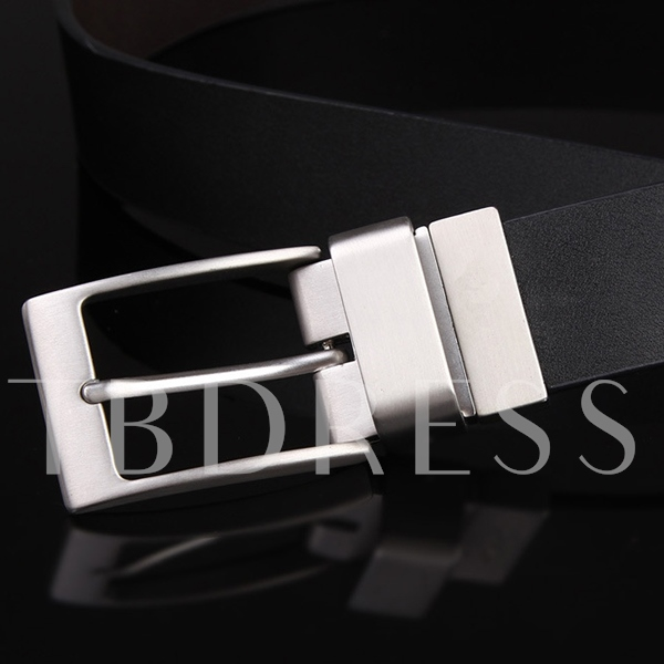 Metal Pin Buckle Pure Color Men's Belt