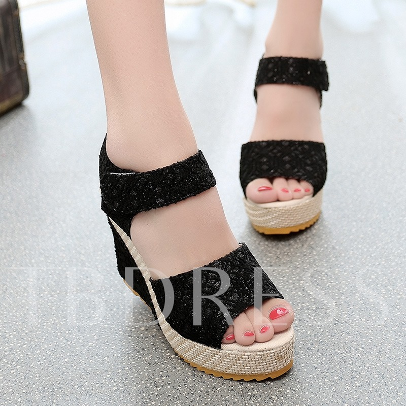 Buy Lace Wedge Heel Platform Velcro Women's Sandals, Spring,Summer,Fall, 12183367 for $14.99 in TBDress store