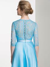 Half Sleeves Lace Button A-Line Knee-Length Bridesmaid Dress