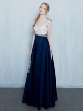 A-Line Round Neck Beading Lace Long Evening Dress