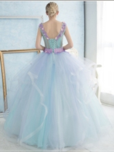 V-Neck Ball Gown Lace Flowers Floor-Length Quinceanera Dress
