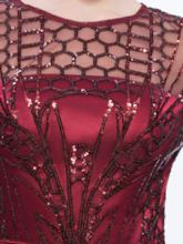 Sheath Scoop Long Sleeves Sashes Sequins Sweep Train Evening Dress