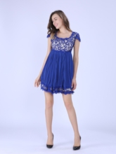 Cap Sleeve Square Neck Women's Day Dress (Plus Size Available)