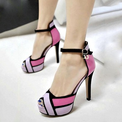 Peep Toe Color Block Stiletto Heel Women's Pumps