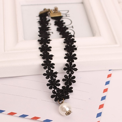 White Pearl Pendant Black Lace Necklace