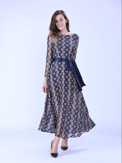 Round Neck Long Sleeve Backless Women's Maxi Dress (Plus Size Available)