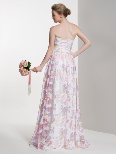 Sweetheart Printing Lace-Up A-Line Floor-Length Bridesmaid Dress
