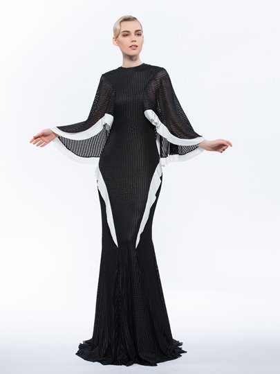Jewel Trumpet Long Sleeves Hollow Ruffles Sweep Train Evening Dress