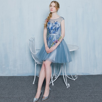 A-Line Sashes Scoop Embroidery Mini Homecoming Dress