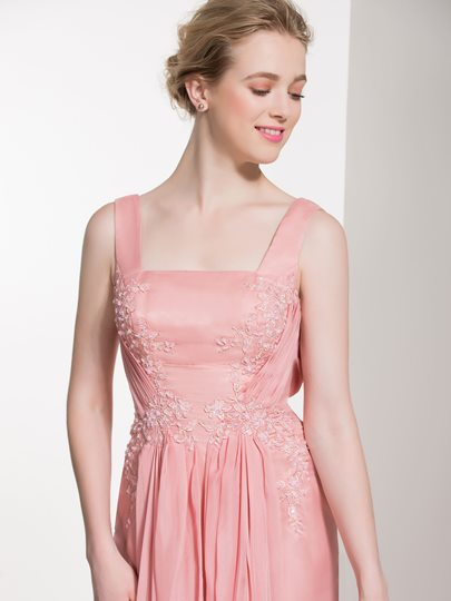 Straps Square Neck Appliques Ruched Bridesmaid Dress