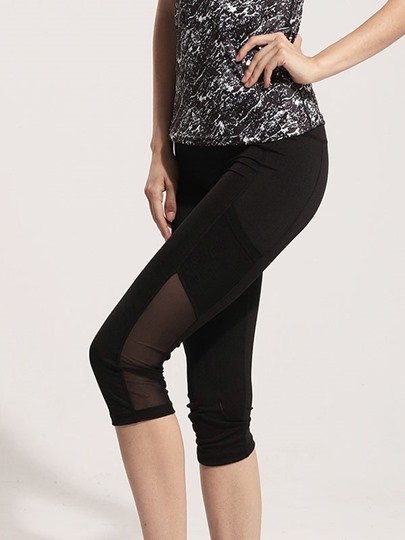 Polyester Mesh Blend Women Jogger Pants