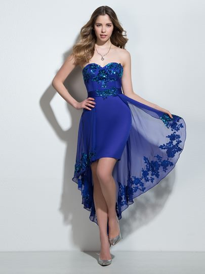 Sequins Sheath Sweetheart Appliques Asymmetry Cocktail Dress