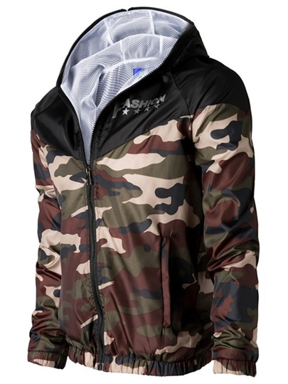 Men's Fashionable Hoodie with Camouflage