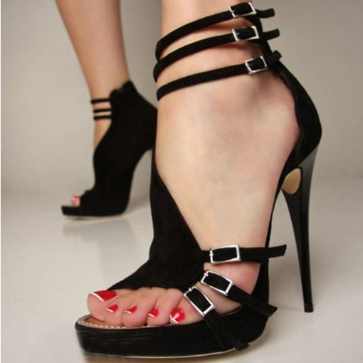Open Toe Stiletto Heel Platform Plain Strappy Buckle Women's Sandals