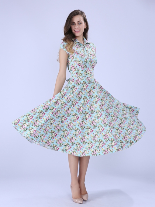 Lapel Lace up Floral Women's Day Dress