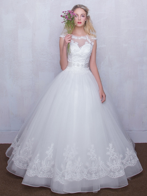 Cap Sleeve Appliques Princess Wedding Dress