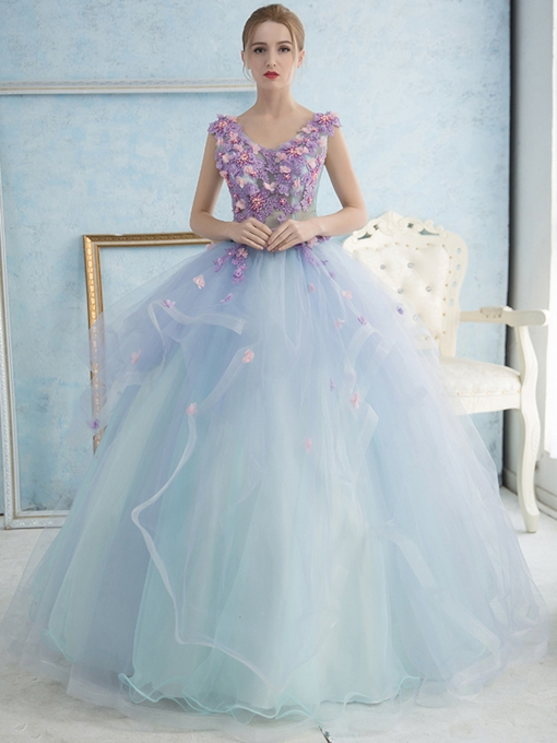 Ball Gown 3D Flowers Beading Quinceanera Dress