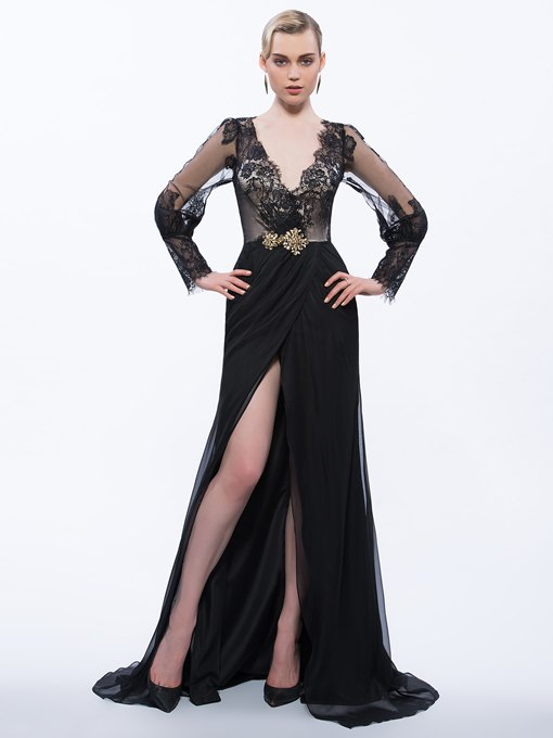 V-Neck Beading Hollow Lace Split-Front Evening Dress