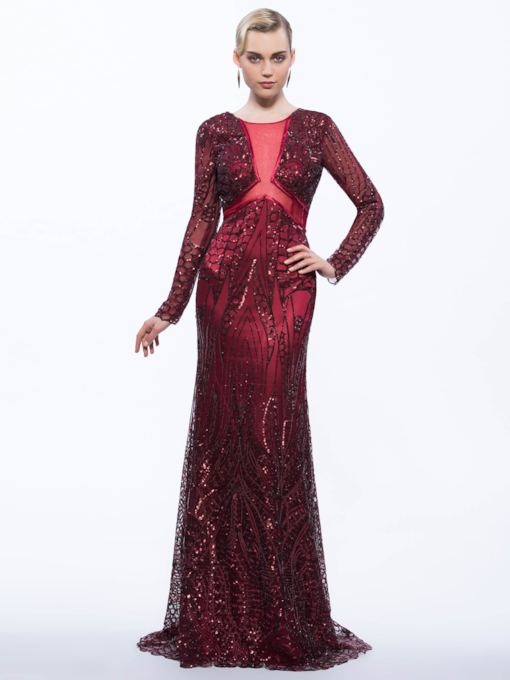 Sheath Scoop Long Sleeves Sequins Brush Train Evening Dress