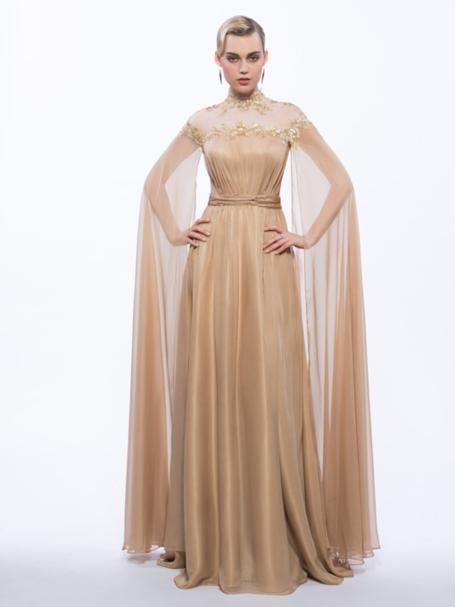 Sequins Appliques Button High Neck Evening Dress
