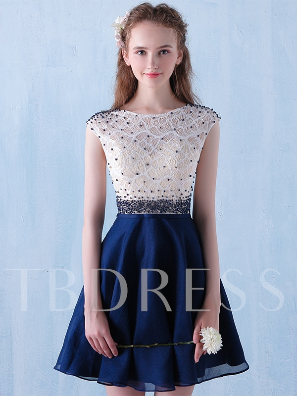 Image of A-Line Scoop Beading Lace Short Cocktail Dress