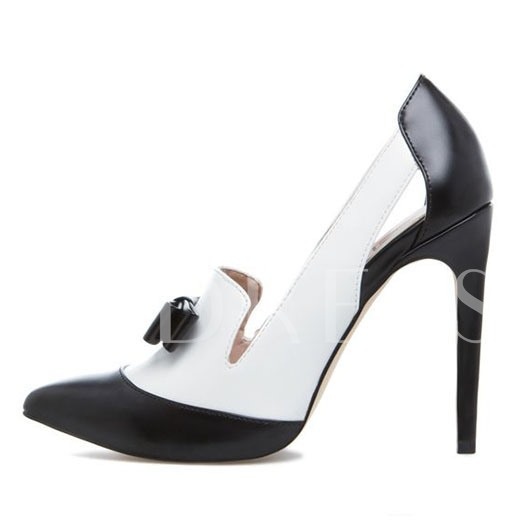 Pointed Toe Slip-On Color Block Stiletto Heel Bow Women's Pumps