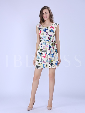 Yellow Round Neck Butterfly Print Women's Day Dress (Plus Size Available)
