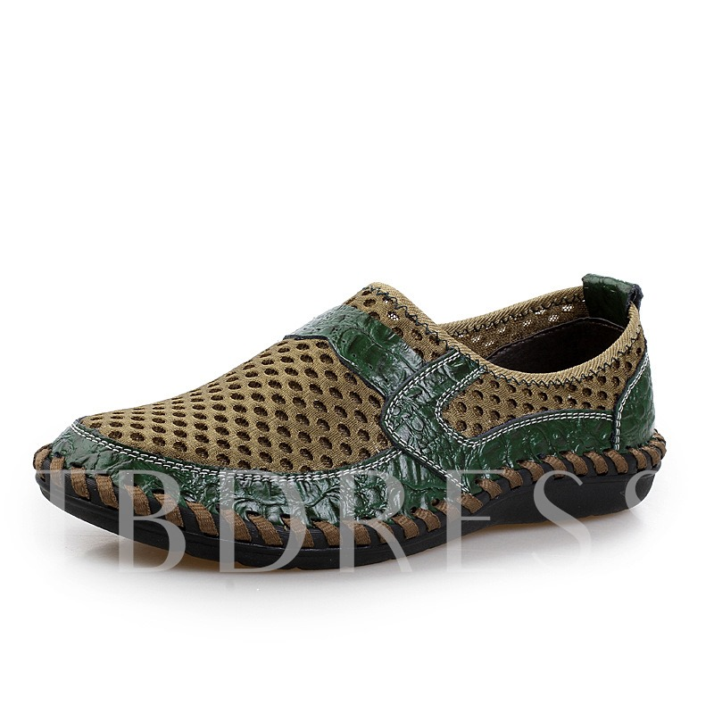 Round Toe Flat Heel Patchwork Hollow Men's Sandals