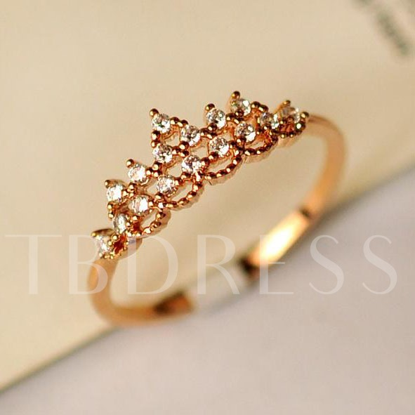 Beautiful Golden Crown Full Drill Ring