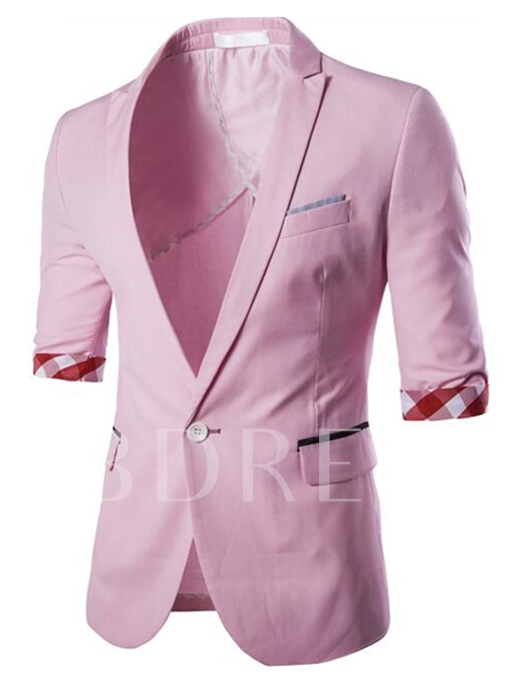 Men's Pink Casual Blazer with One Button