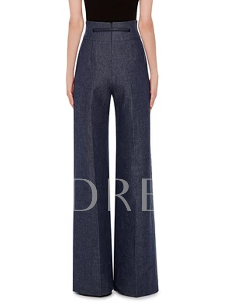 High Waist Solid Color Palazzo Strap Women's Pants