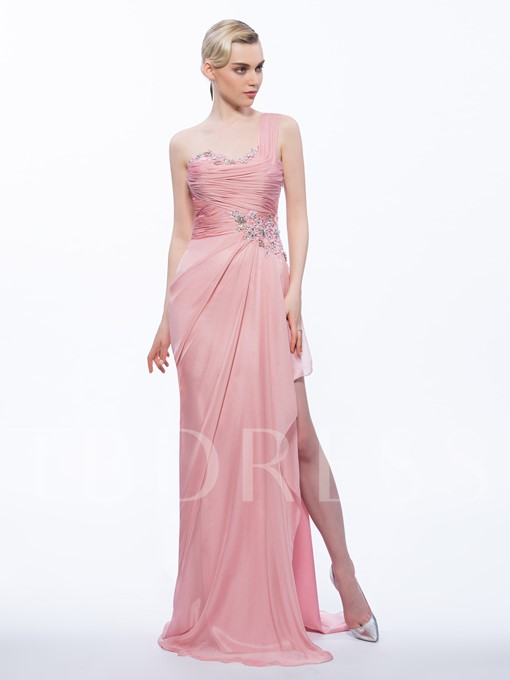 One-Shoulder Sheath Appliques Beading Pleats Split-Front Evening Dress