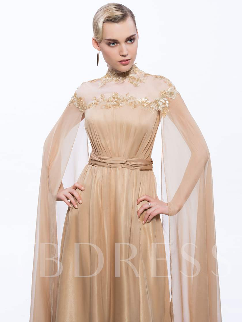 A-Line Appliques Button Ruched Sequins Evening Dress