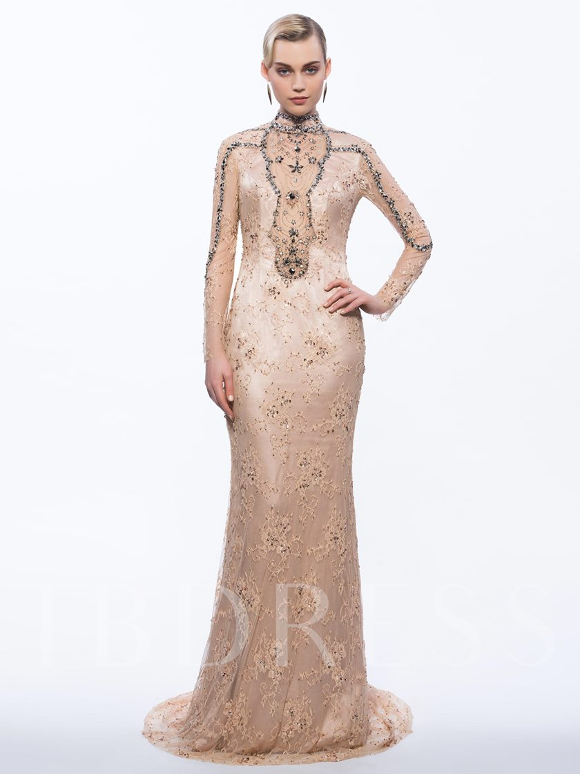 High Neck Sheath Long Sleeves Beading Lace Sequins Sweep Train Evening Dress