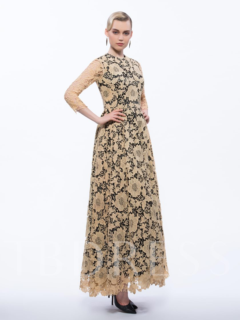 Jewel Neck A-Line 3/4 Length Sleeves Lace Long Evening Dress
