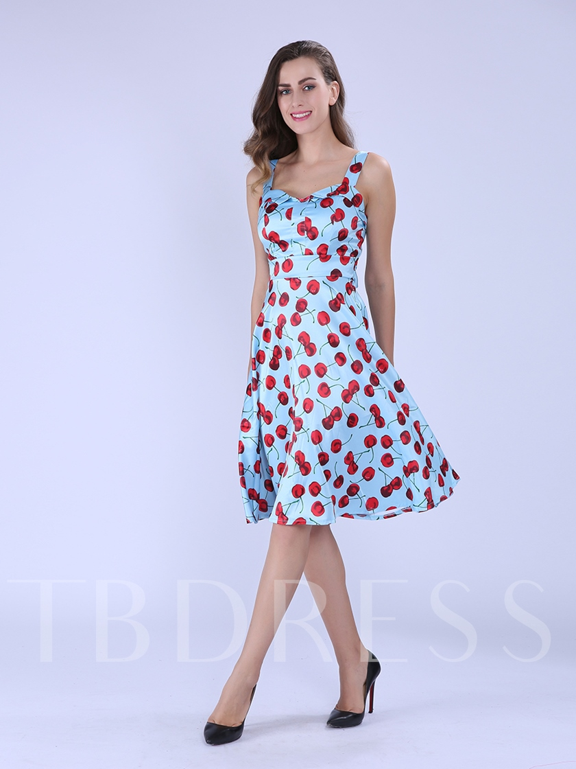 Sleeveless Mid-Calf Patchwork A-Line Women's Dress