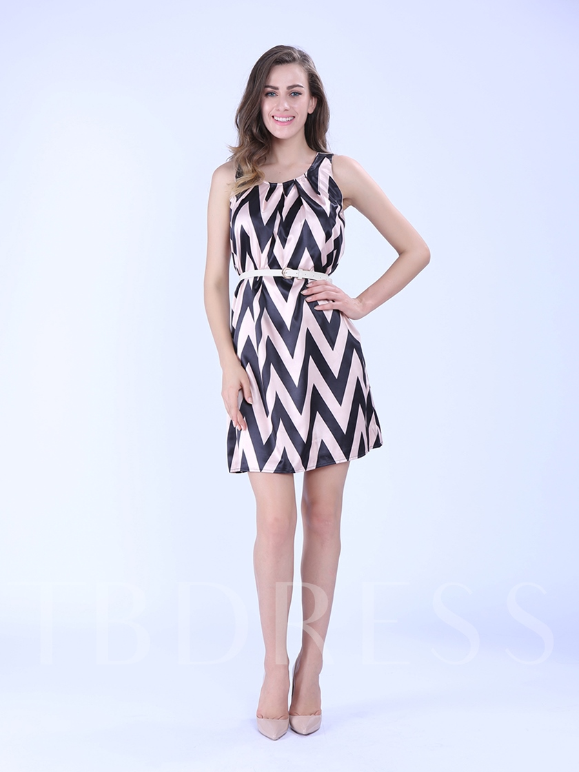 Chiffon Sleeveless Stripes Women's Day Dress with Belt
